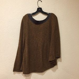 Sweaters - Luciano Dante faux leather trip brown poncho sweat